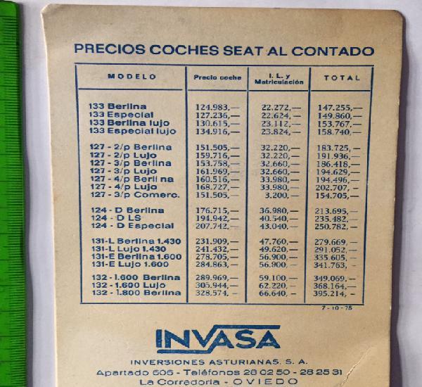 Lista de precios seat - invasa 1975?
