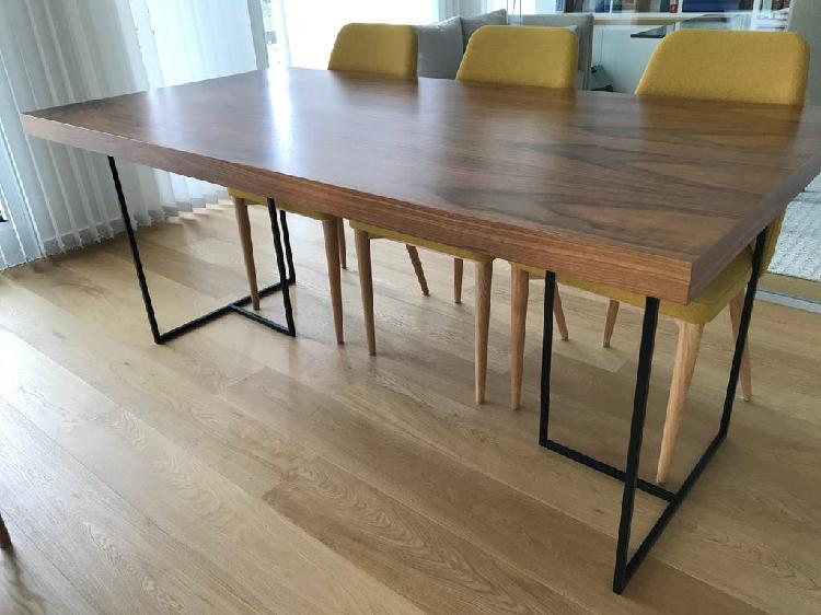 Mesa comedor madera nogal 180x90 (temahome)