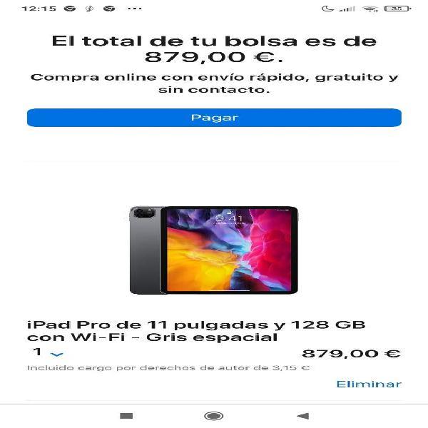 Ipad pro 11' 2020 wifi 128gb