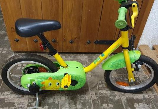 "Bicicleta niño btwin 14"" amarilla"