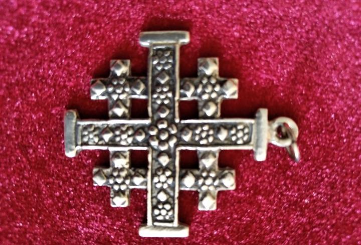 Cruz de jerusalén, vintage en plata de ley, dije o