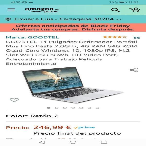 """Portátil ligero 14"""". windows 10"""