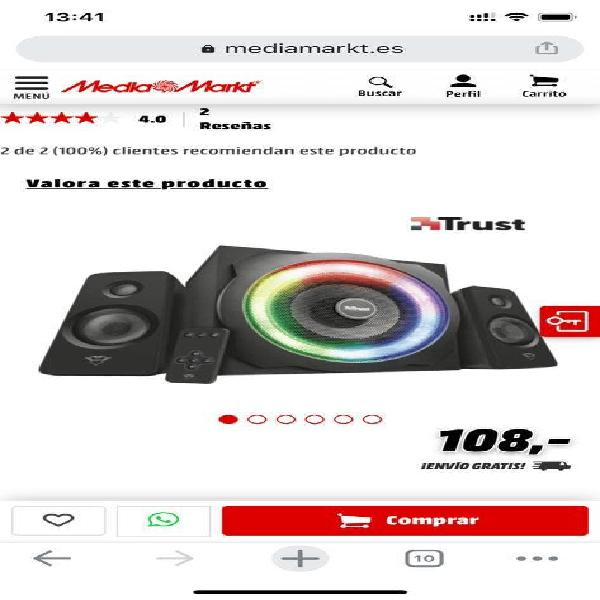Altavoces trust gxt 629 tytan 2.1 rgb