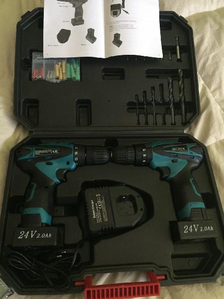 Nuevo 2 taladros 24v baterías