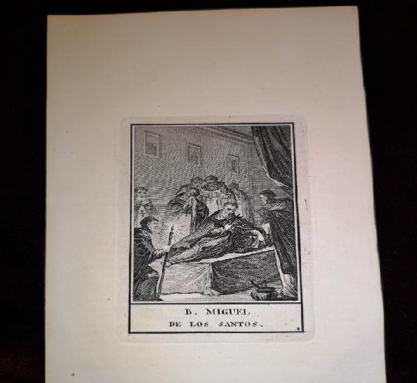 B. miguel de los santos - grabado antiguo - 10 x 17 cm -