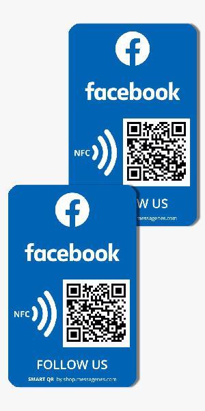 2 pegatinas facebook qr/nfc