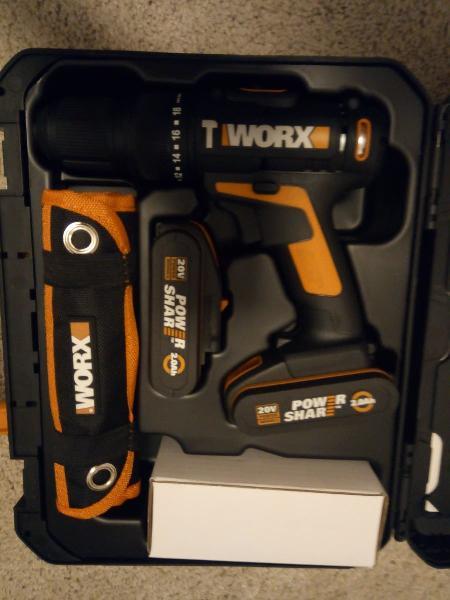 Taladro percutor worx 20v 2 baterías 2ah +set acce