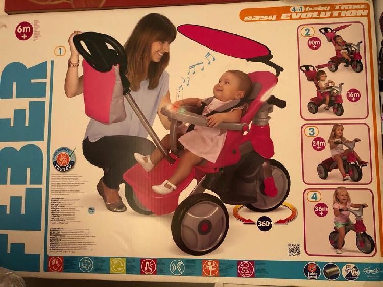 Triciclo baby trike easy evolution rosa. feber