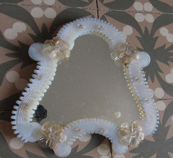 Antiguo espejo murano color blanco/ azul celeste con