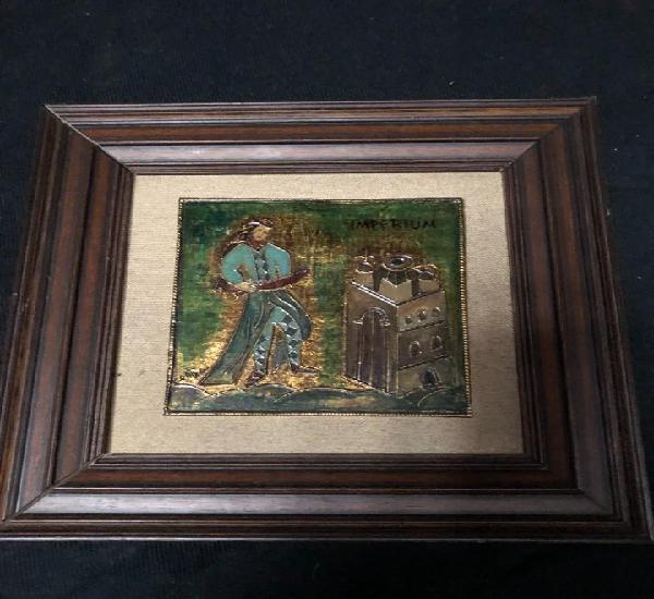 Placa bronce esmaltado, imperium, 13 x 13 placa