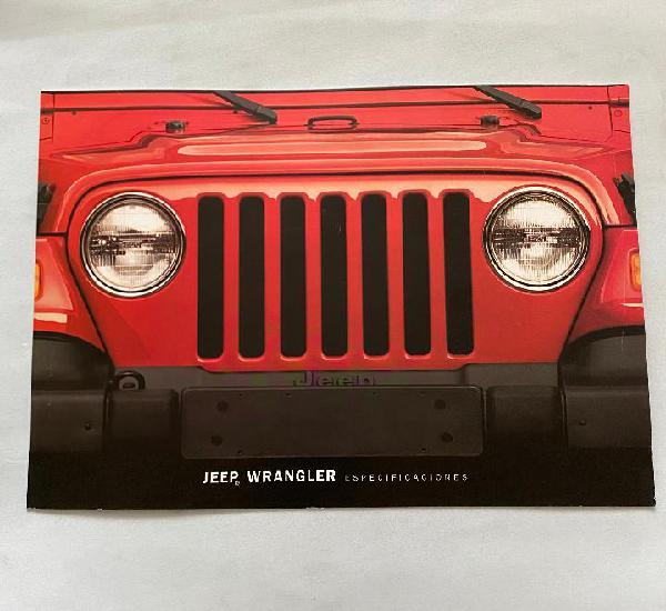 Catalogo folleto publicidad jeep wrangler especificaciones