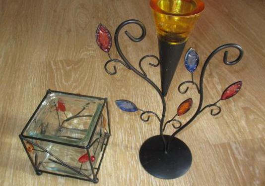 Conjunto portavelas y adorno decorativo