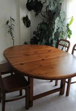 Mesa comedor y sillas madera maciza