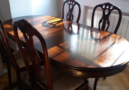Mesa madera de roble y 6 sillas tapizadas