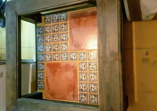 Mesa madera maciza y cristal
