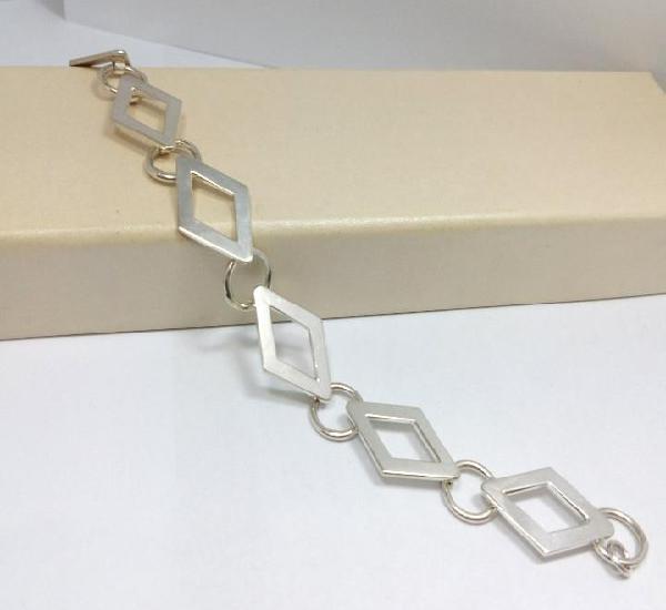 Pulsera de plata de ley con rombos - medida 18 cm - anchura