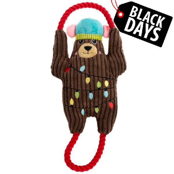 Osito navideño de peluche con cuerdas para perros