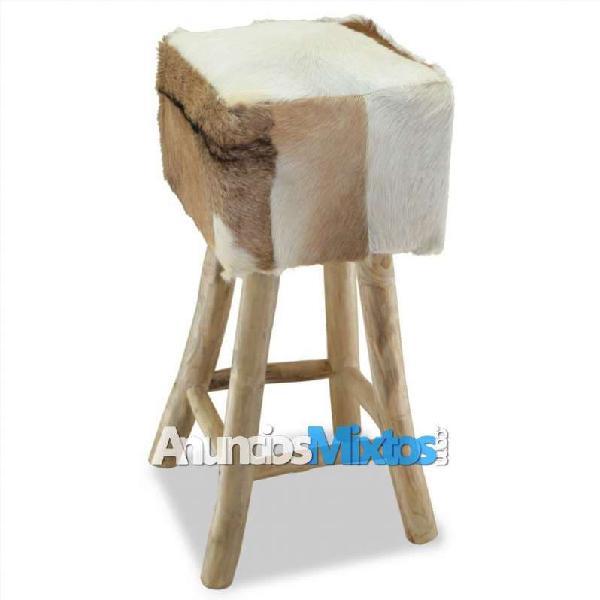 Taburete de cocina de cuero auténtico y madera de