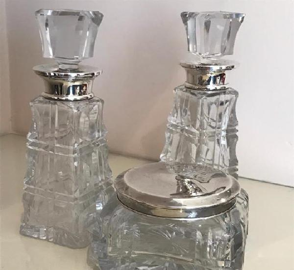 Antiguo juego de tocador de plata de ley 925 y cristal de