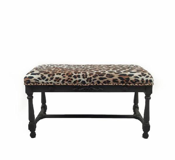 Banqueta gris tapizado leopardo 90 x 40 x 44 alto