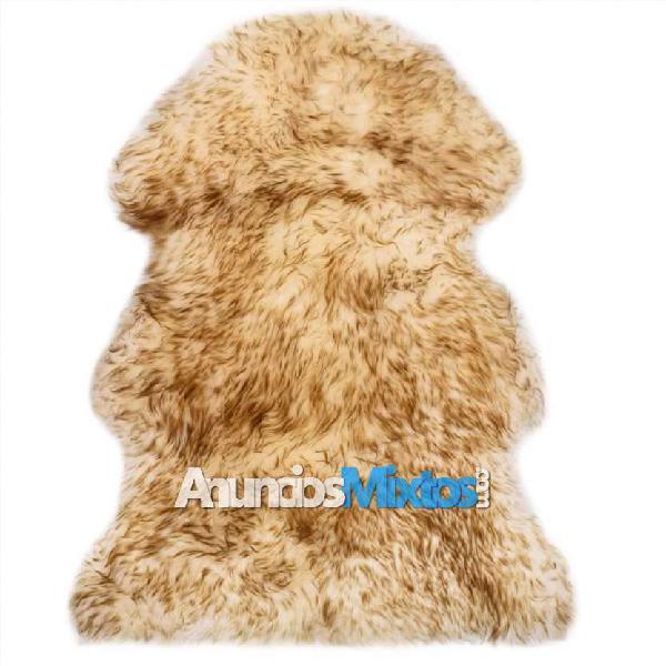 Alfombra de piel de oveja marrón mezcla 60x90 cm