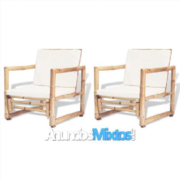 Sillas de jardín con cojines 2 unidades bambú