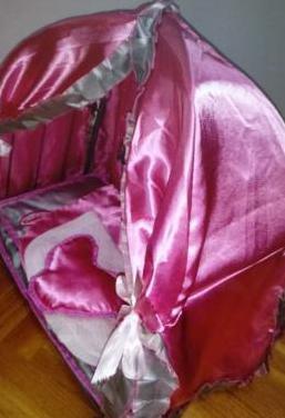 Cuna rosa con dosel