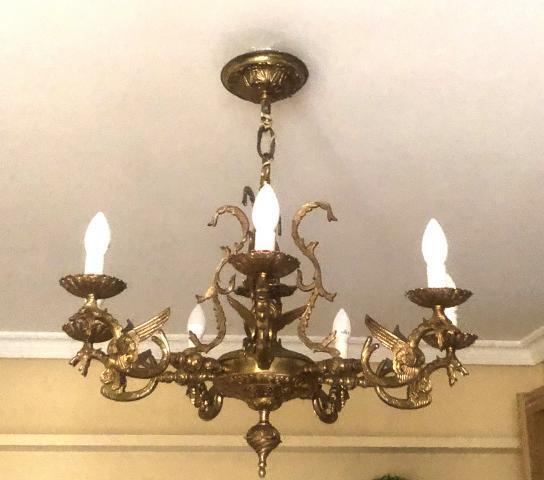 Magnifica lámpara de techo de bronce