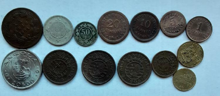 Portugal lote de 14 monedas monarquia, colonias y