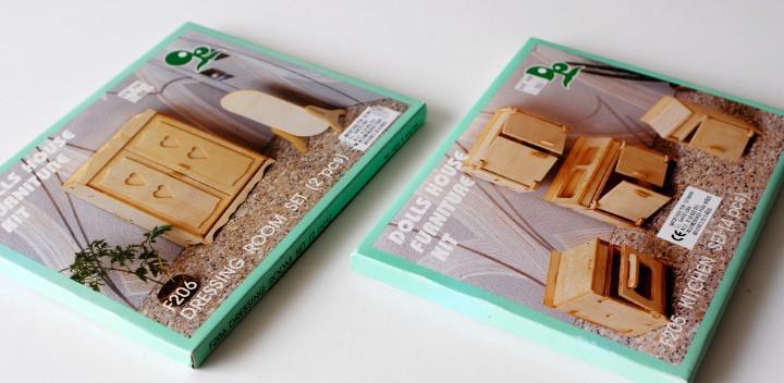2 kit de muebles para casa de muñecas. de madera, para