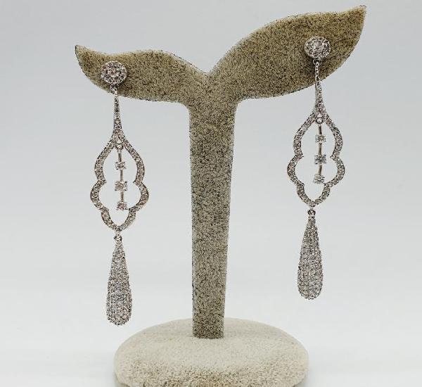 Espectaculares pendientes de lujo vintage en plata de ley y