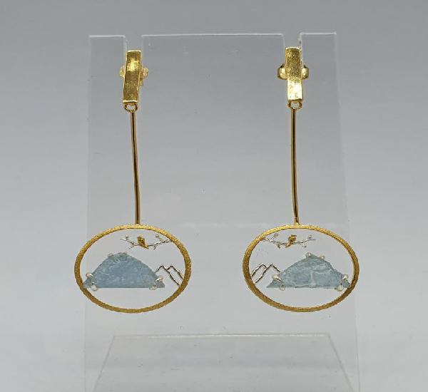 Magníficos pendientes de diseño zen con aves en plata de