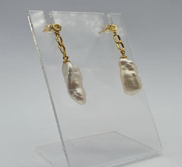 Magníficos pendientes de lujo en plata de ley chapados en