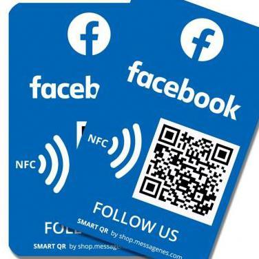 Pegatina facebook con nfc y qr