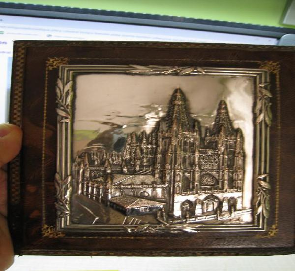 Antigua placa catedral burgos bañada en plata de la