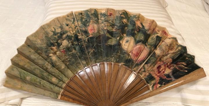 Abanico papel pintado sobre tela acuarela flores