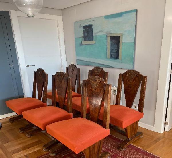 Conjunto de 6 sillas de comedor art deco años 30