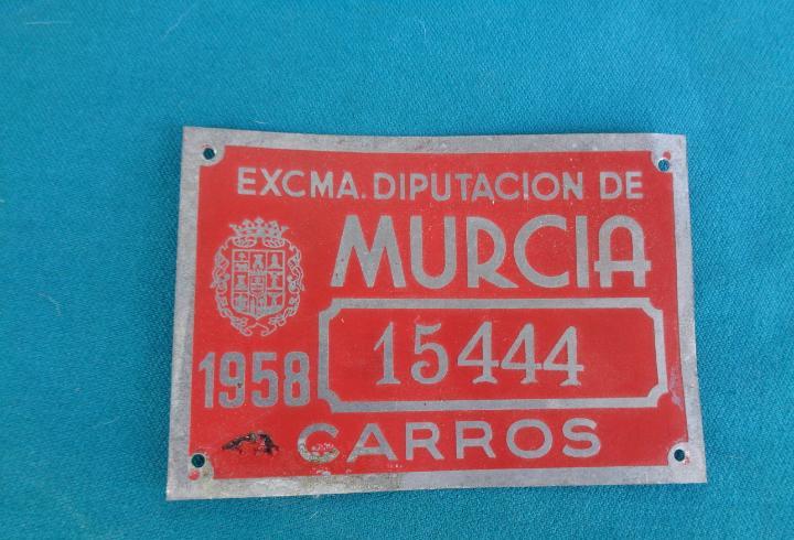Matricula de carro 1958 murcia