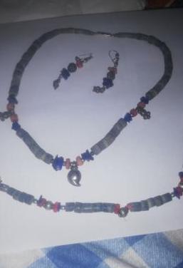 Juego collar azul
