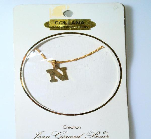 Collar dorado al oro fino colgante letra n, diseño jean