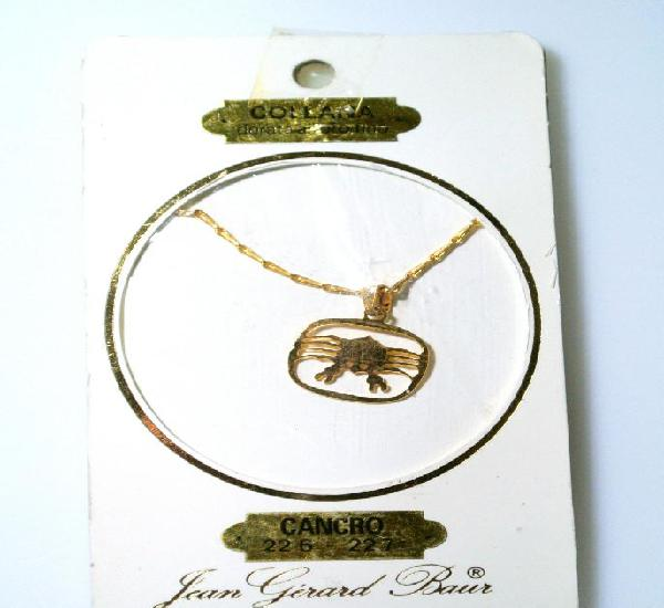 """Collar dorado al oro fino colgante zodiaco """"cancer"""","""