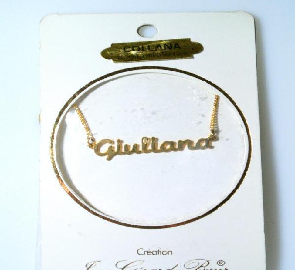 "Collar dorado al oro fino ""giuliana"", diseño jean"