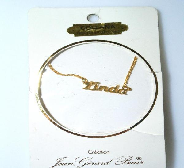 "Collar dorado al oro fino ""linda"", diseño jean gérad"