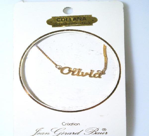 "Collar dorado al oro fino ""olivia"", diseño jean gérad"