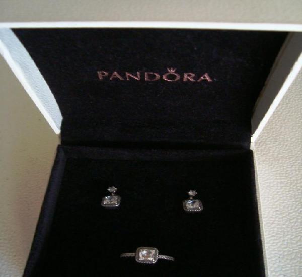 Pandora - conjunto de anillo y pendientes de plata -