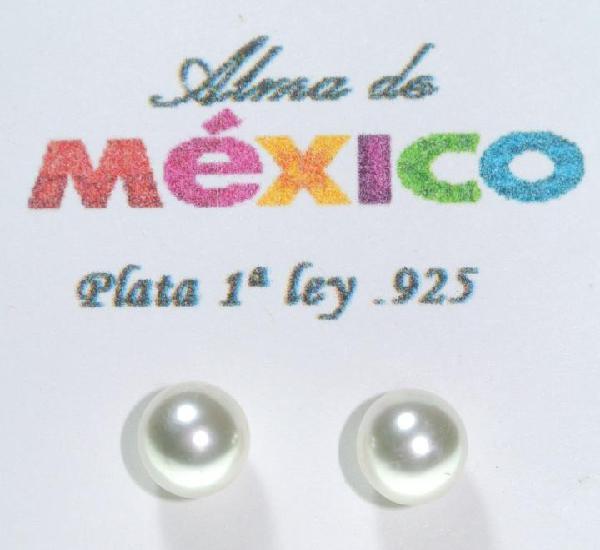 Pendientes de plata de 1ra ley.925 con perla, diametro 7 mm,