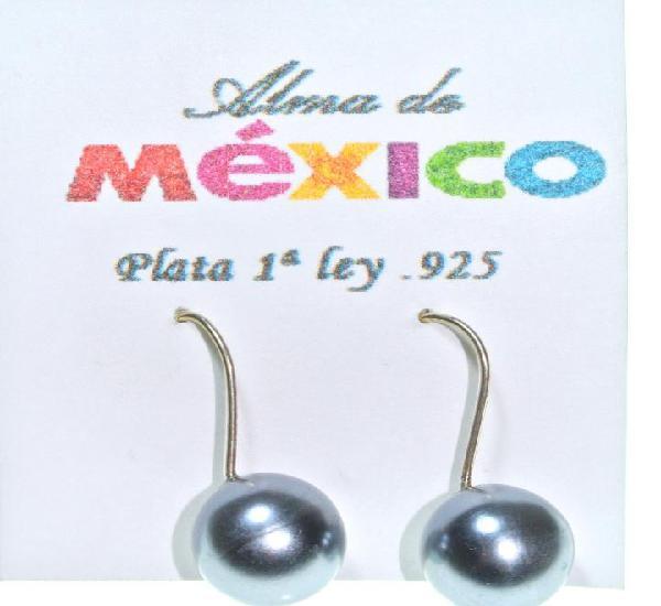 Pendientes de plata de 1ra ley.925 con perla gris, 2.6 cms