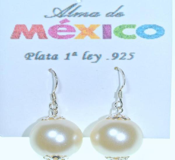 Pendientes de plata de 1ra ley.925 y perla colgante, nuevos
