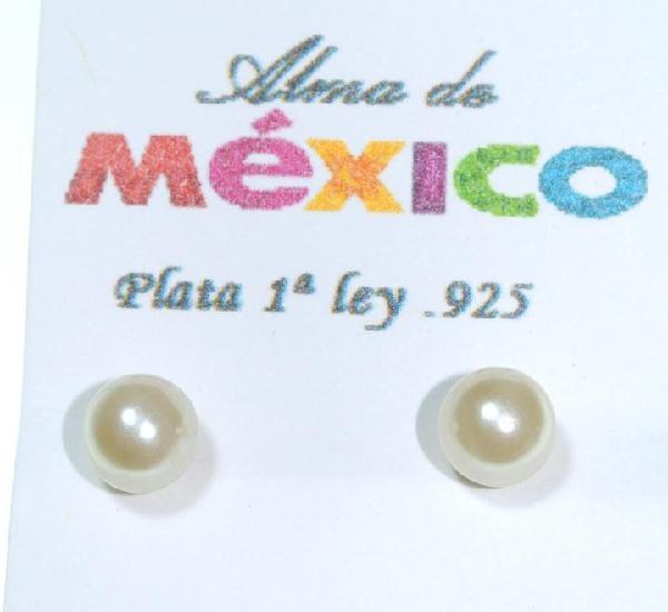 Pendientes de plata de 1ra ley.925 con perla, diámetro 7