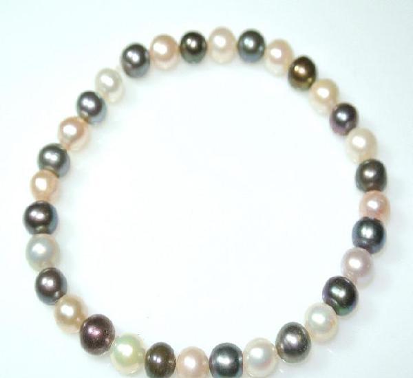 Pulsera de perlas naturales color combinado, elastica, nueva